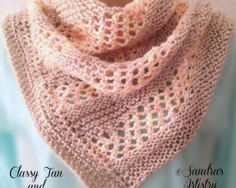 "Classy Tan and Peach Shawl (32""W x 42""L)"