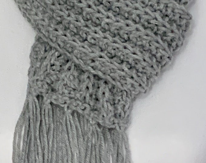 """Ribbed Fringe Knit Scarf in Gray (68""""Lx4.5""""W)"""
