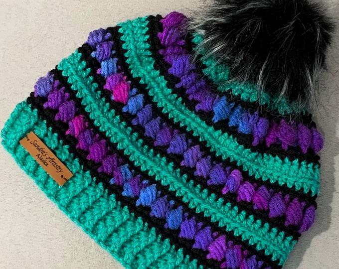 Jadeite-Jewel Tones-Black Hat/Beanie with Faux Fur Pom