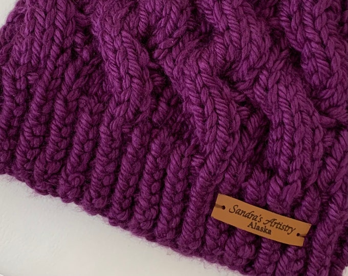 Chunky Purple Fav Cabled Hat with regular brim