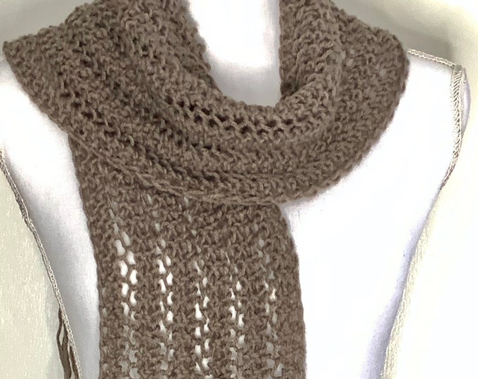 """Lacy Taupe Fringed Scarf-Handmade Knit Designed (68""""Lx7""""W)"""