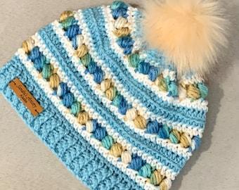 Iced Aqua-Shore Tones-White Hat/Beanie with Faux Fur Pom