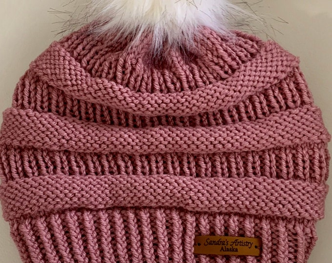 CC Hat-Dusty Rose with Faux Fur Ball (Knit)-Adult Size