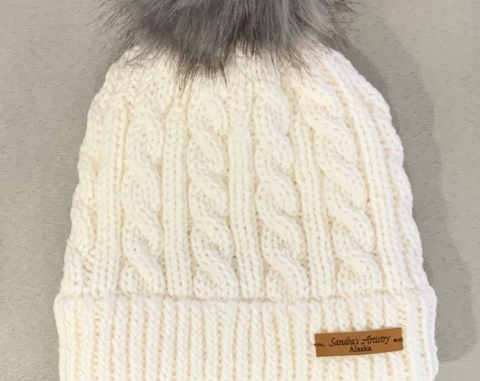 Hat-Cabled Knit with Rolled Brim (White with Grey Faux Fur Pom) Adult