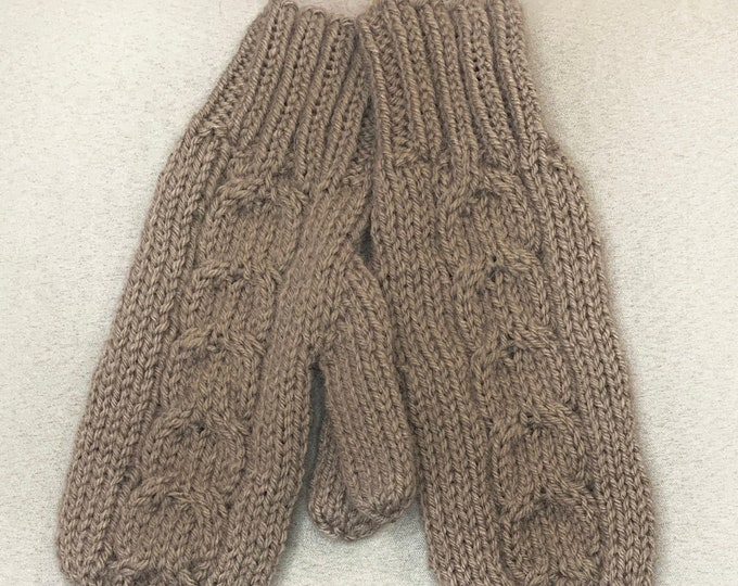 Taupe Knit Cabled Mittens-Handmade and Designed-Adult Medium Size