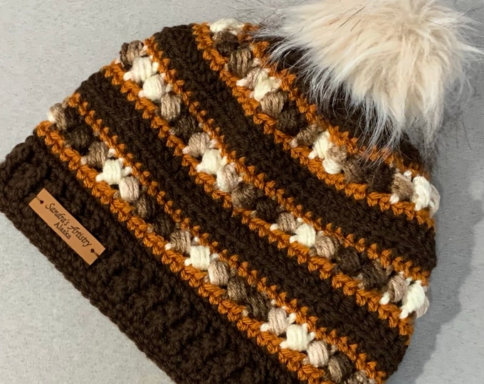 Brown-White-Rust Hat/Beanie with Faux Fur Pom