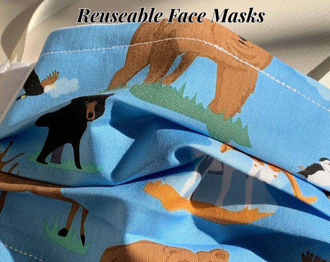 Reusable Face Masks (Alaska Wildlife Theme-blue and white) Unisex w/nose bridge wire insert