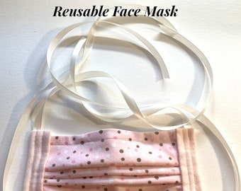 Reusable Face Masks-Cotton (Polka Dot) w/nose bridge wire insert