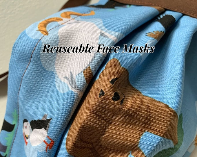 Reusable Face Masks (Alaska Wildlife Theme-blue and brown) Unisex w/nose bridge wire insert