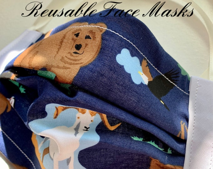 Reusable Face Masks (Alaska Wildlife Theme-navy and white) Unisex w/nose bridge wire insert