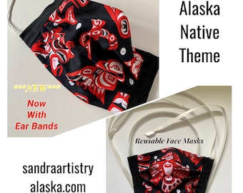 Reusable Face Masks (Alaska Native Theme) unisex w/nose bridge wire insert and head-neck ties