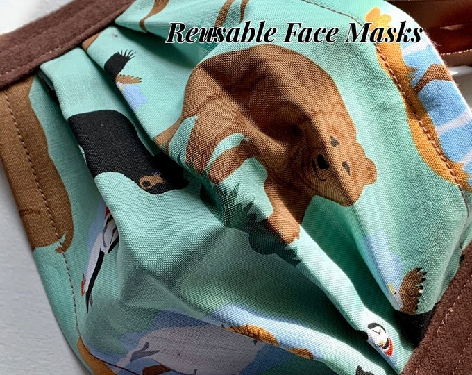 Reusable Face Masks (Alaska Wildlife Theme-turquoise and brown) Unisex w/nose bridge wire insert