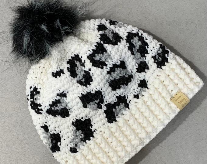 Snow Leopard Hat/Beanie-Faux Fur Pom (2 size options)