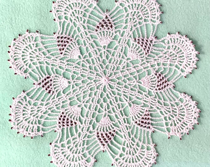 """White Cotton Handmade Doily with 208 Czech Glass Purple Opalescent Beads (11"""" DIA)"""
