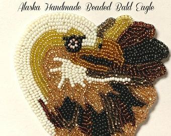 "Alaska Handmade Beaded Bald Eagle Regalia Applique-4x3-3/4"" in Czech Glass Beads"