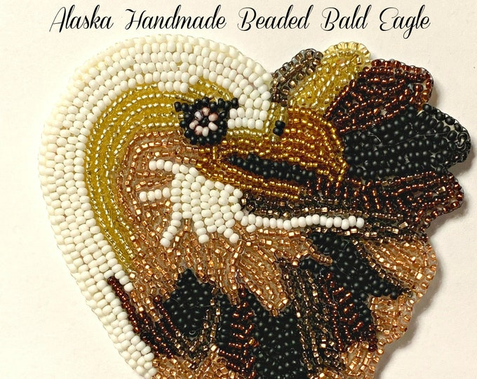 "Alaska Handmade Beaded Bald Eagle Regalia Applique-4x3-3/4"" in Czech Glass Beads"