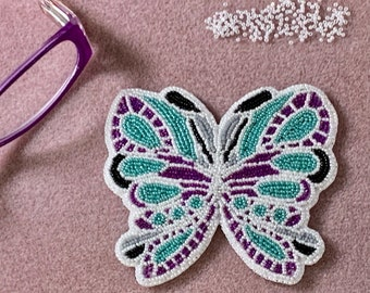 "Alaska Handmade Beaded Large Butterfly-3-1/4-3-3/4"" in Czech Glass 15/0 Beads"