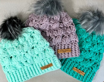 Handmade Hat/Beanie-Variegated Faux Fur Pompom (3 color options)
