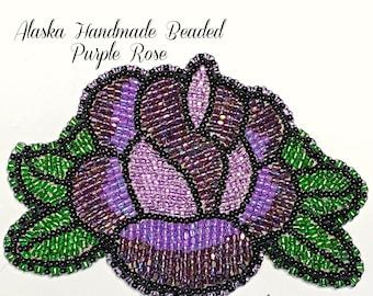 "Alaska Handmade Beaded Purple Rose-3"" L x 4"" W in Czech Glass Beads"