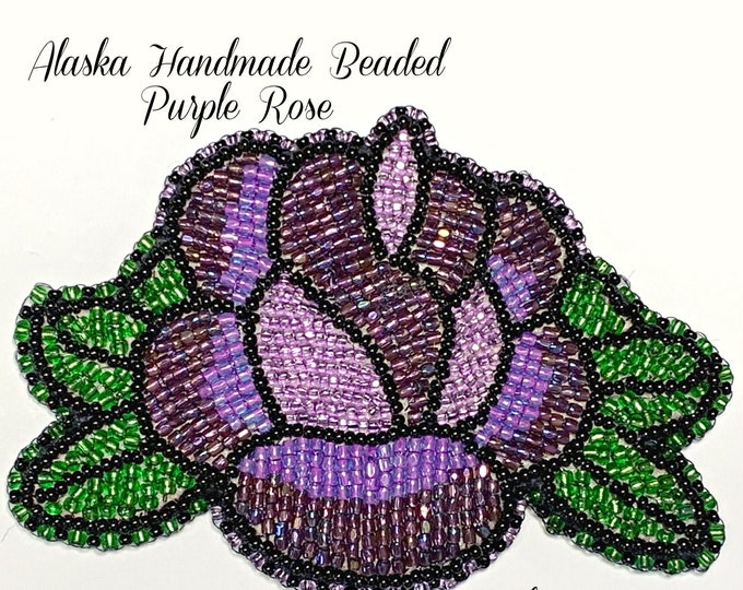 "Alaska Handmade Beaded Purple Rose-3"" L x 4"" W in Czech Glass Beads"