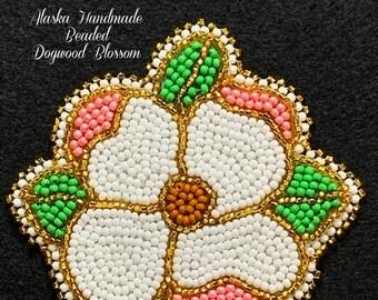 """Alaska Handmade Beaded Dogwood Blossom Applique-3x3-1/4"""" in Czech Glass Beads (Gold Pink Green)"""