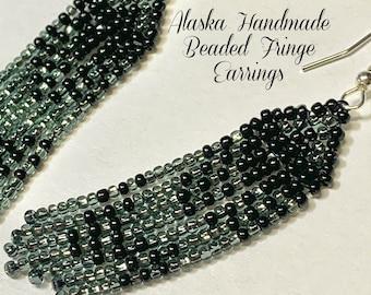 """Alaska Handmade Beaded Fringe Earrings (Black, Pewter) 2-5/8""""Lx3/4""""W"""
