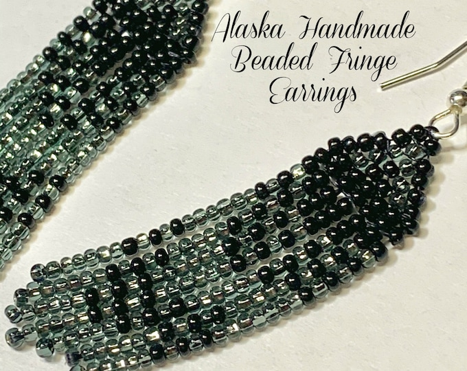 "Alaska Handmade Beaded Fringe Earrings (Black, Pewter) 2-5/8""Lx3/4""W"