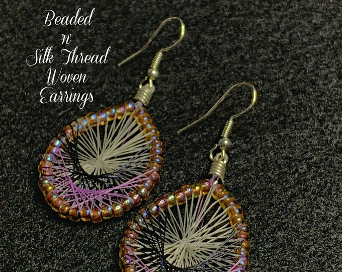 "Beaded 'n' Silk Thread Woven Earrings (Black Purple Silver) 2-1/4""Lx1""W"