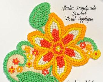 """Alaska Handmade Beaded Floral Applique-3x3-1/4"""" in Czech Glass Beads (Yellow Orange Green)"""