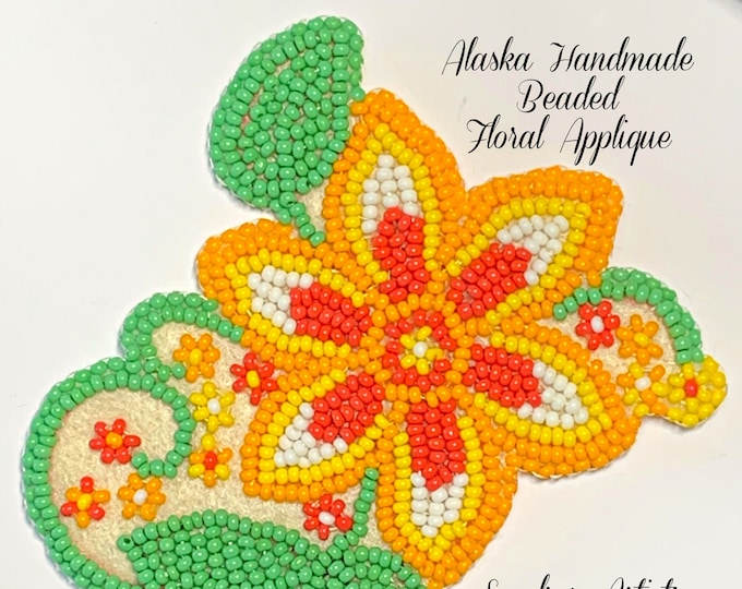 "Alaska Handmade Beaded Floral Applique-3x3-1/4"" in Czech Glass Beads (Yellow Orange Green)"