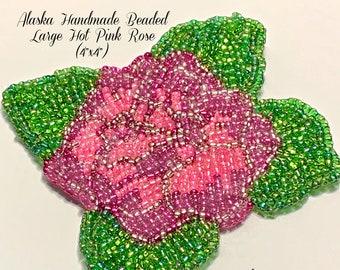 "Alaska Handmade Beaded Large Hot Pink Rose-4"" L x 4"" W (Hot Pink Green)"