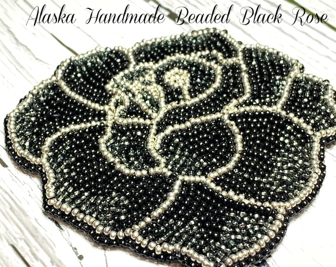 "Alaska Handmade Beaded Black Rose Applique-3-1/2x3-3/4"" in Czech Glass Beads (Black Silver)"