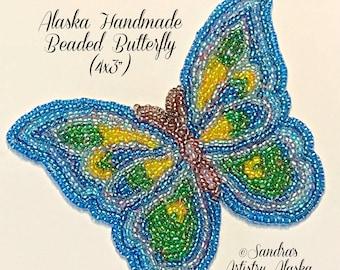 """Alaska Handmade Beaded Large Butterfly Applique-4x3"""" in Czech Glass Beads (Blue Yellow Green)"""
