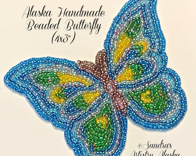"Alaska Handmade Beaded Large Butterfly Applique-4x3"" in Czech Glass Beads (Blue Yellow Green)"