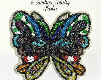 """Alaska Handmade Beaded Large Butterfly-3-1/2x3-3/4"""" in Czech Glass Beads"""
