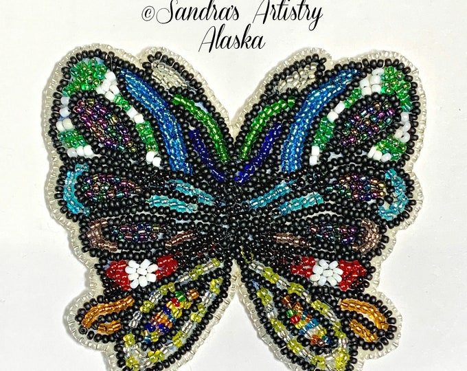 "Alaska Handmade Beaded Large Butterfly-3-1/2x3-3/4"" in Czech Glass Beads"