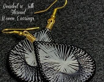 "Beaded 'n' Silk Thread Woven Earrings (Black White Gold) 2-3/4""Lx1-1/4""W"