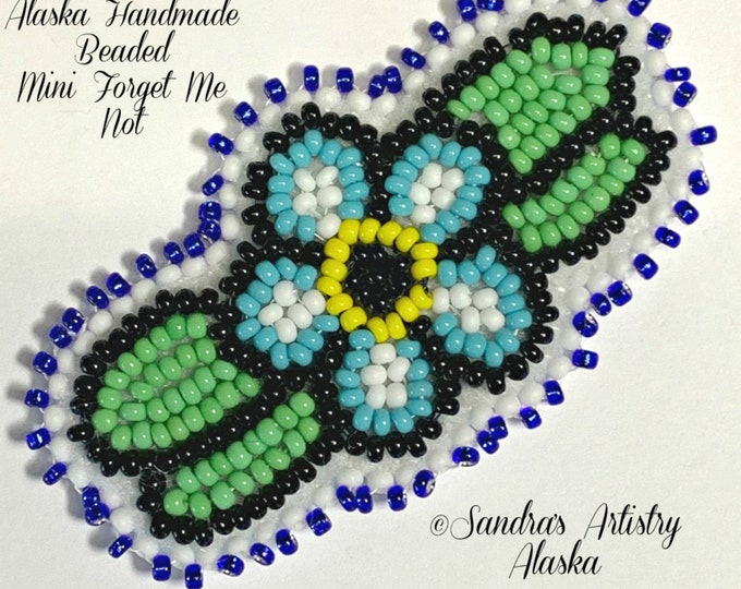 "Alaska Handmade Beaded Mini Forget Me Not-2-1/2x1-1/2"" in Czech Glass Beads"