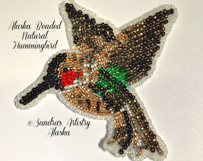 "Alaska Beaded Yakutat Hometown Hummingbird-3-1/2 L x 3-3/4 W"" in Czech Glass Beads"