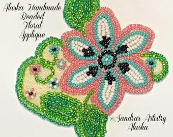 """Alaska Handmade Beaded Floral Applique-3x3-1/4"""" in Czech Glass Beads (Pink Blue Black)"""