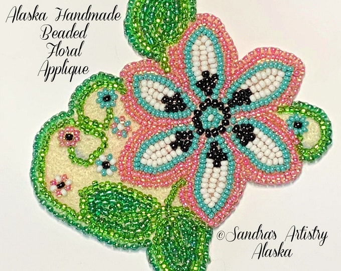 "Alaska Handmade Beaded Floral Applique-3x3-1/4"" in Czech Glass Beads (Pink Blue Black)"