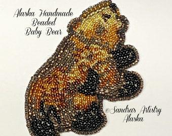 "Alaska handmade Beaded Baby Bear-3-1/4 L x 2""W in Czech Glass Beads"
