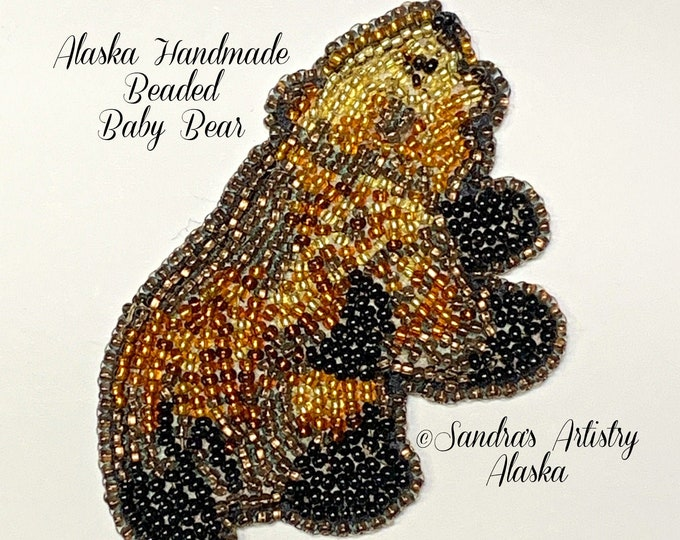 "Alaska handmade Beaded Baby Bear-3-1/4 L x 2""W in Czech Glass Beads"