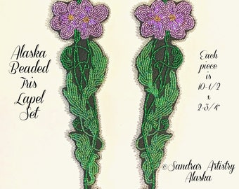 "Alaska Beaded Iris Lapel Set-each 10-1/2x2-3/4"" in Czech Glass Beads"