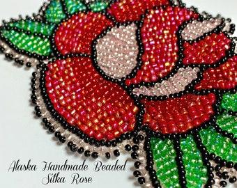 "Alaska Handmade Beaded Sitka Rose-3"" L x 4"" W in Czech Glass Beads"