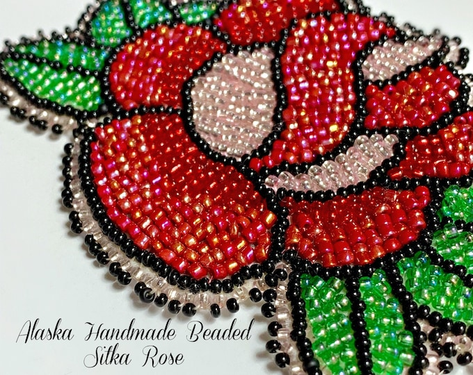 "Alaska Handmade Beaded Sitka Rose-3"" L x 4"" W in Czech Glass Beads"