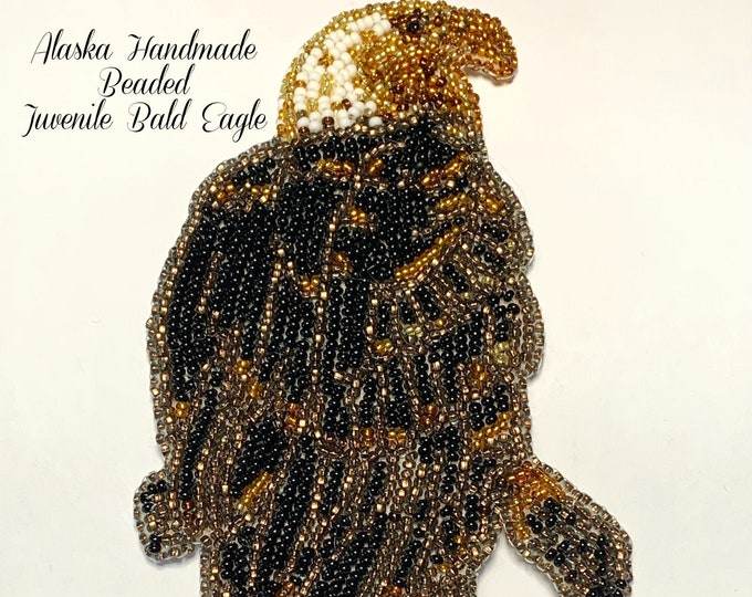 "Alaska Handmade Beaded Juvenile Bald Eagle Regalia Applique-6x3-1/4"" in Czech Glass Beads"