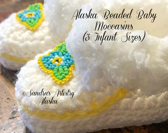 Alaska Beaded Forget Me Not Baby Moccasins (3 Infant Sizes) Handmade and Designed