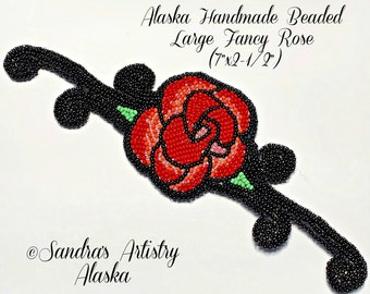 """Alaska Handmade Beaded Large Fancy Rose Applique-7x2-1/2"""" in Czech Glass Beads (Red Coral Pink Black)"""