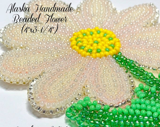 "Alaska Handmade Beaded Flower Applique-4""x3-1/4"" in Czech Glass Beads (White Pink Yellow Green)"